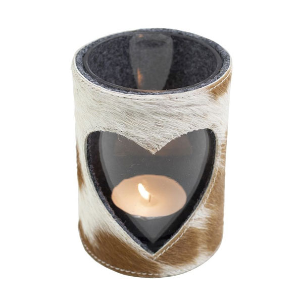 cow hide candle holder 15cm