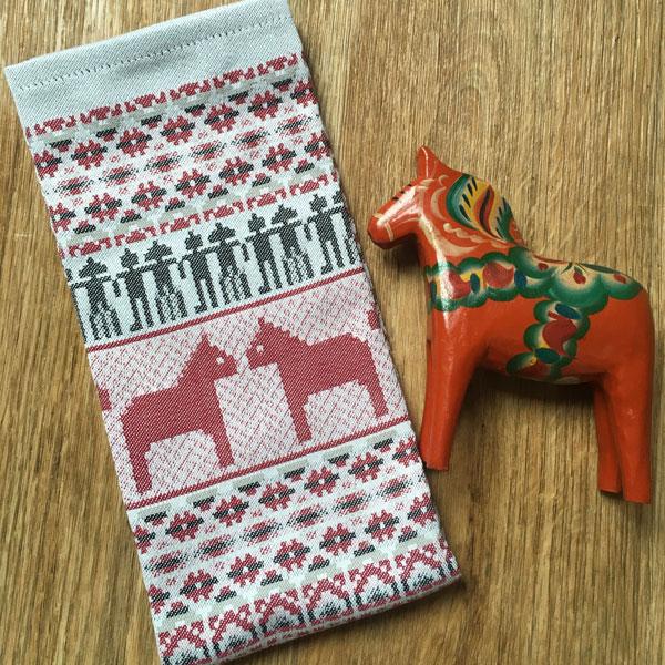 dala horse traditional swedish tea towel