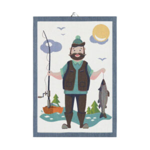 ekelund fishing man tea towel
