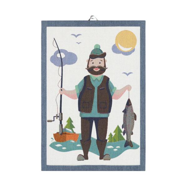 ekelund fishing man tea towel