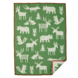 forest animals green blanket