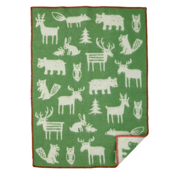 forest animals green blanket