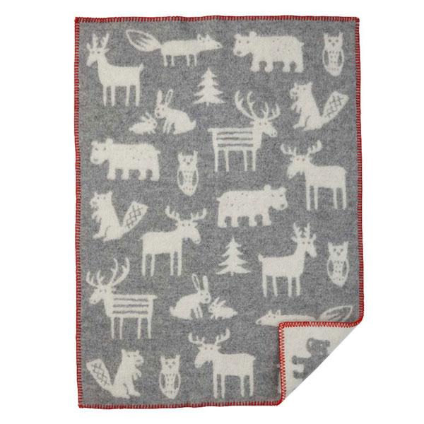forest animals grey blanket