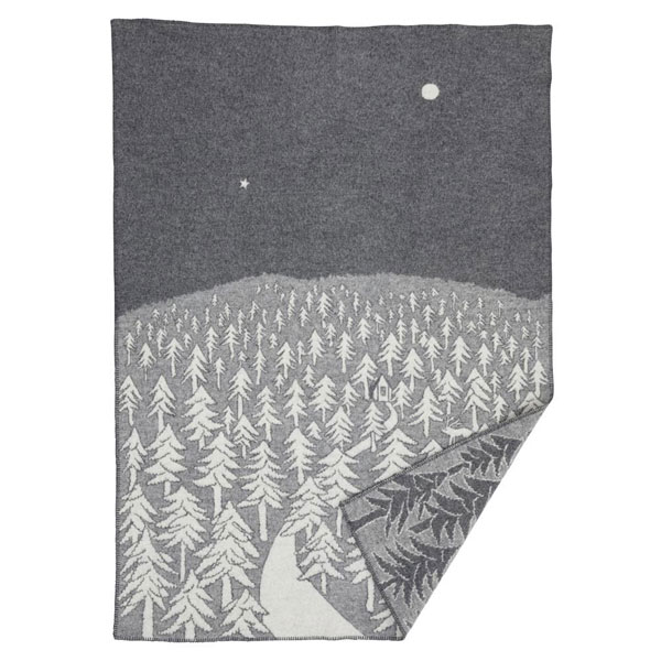 house in the forest grey blanket