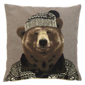 nordic bear brown cushion