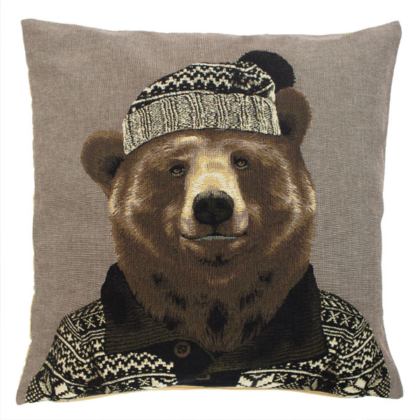 nordic bear brown cushion
