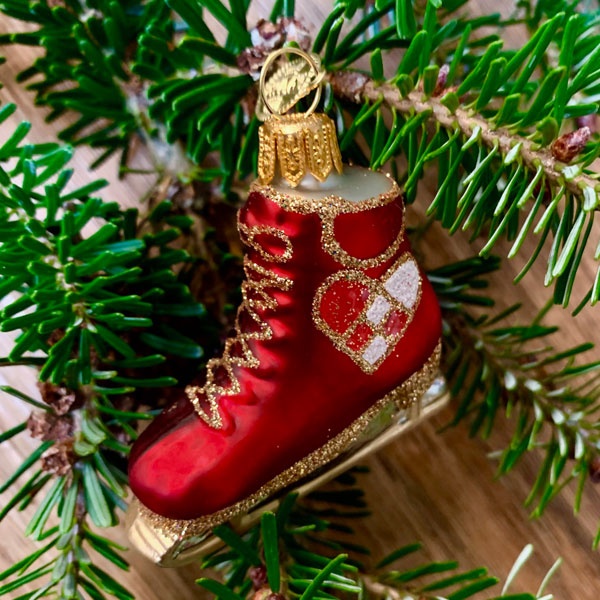 red ice skate christmas decoration