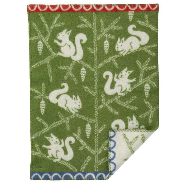 swedish green squirrel blanket green