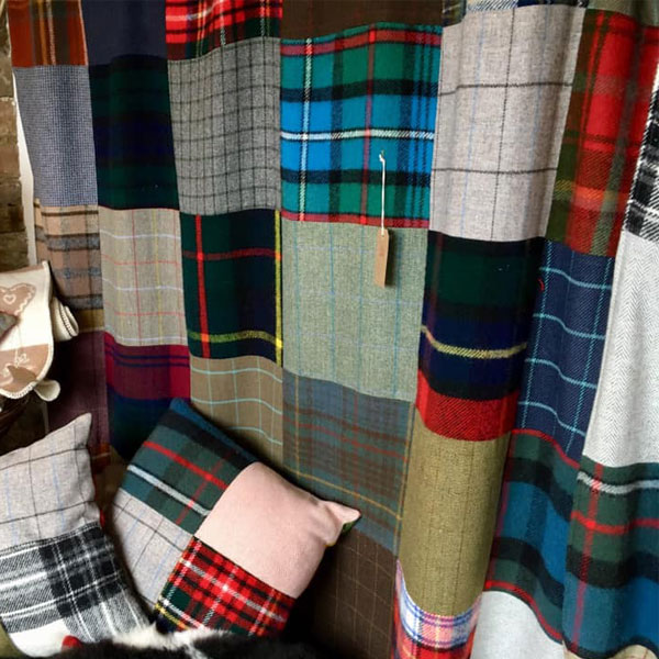 tartan and tweed patchwork throw